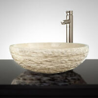 "16"" Oval Chiseled Travertine Marble Stone Bathroom Vessel Sink"