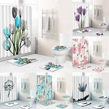 Elegant Tulip Lotus Decor Shower Curtain Floral Flower ?? Non-Slip Rug Bath Mat