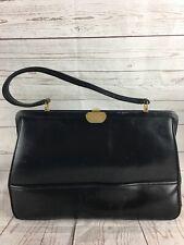 Joseph Magnin Vintage Black Leather Structured Handbag Purse Clasp Made France