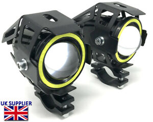 Motorbike Spotlights Foglights Projector LED White Halo Anello Adventure ATV