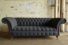 HANDMADE 3 SEATER CHARCOAL GREY WOOL CHESTERFIELD SOFA, FABRIC COUCH CHAIR