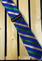 New Ben Sherman Blue Green Hand Made Striped Slim Skinny Tie New w/tag