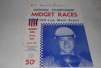 Midget Car Auto Racing Program, Kearney Bowl, Fresno California, April 24 1960