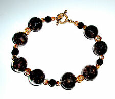 Black Infused Clear Murano Glass Bracelet with Crystals