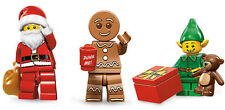 LEGO Minifigures - Ser 8 Santa AND Ser 11 Holiday Elf AND Gingerbread Man - New