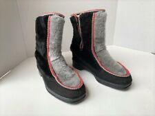 Snowland Boots Size 7 Winter Ski Faux Fur Black & Grey w/ Red Trim Vintage Warm