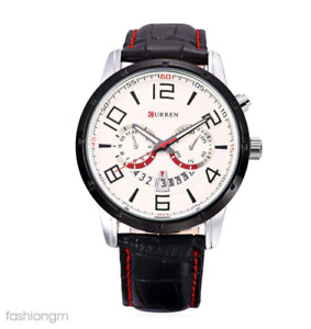 Curren 8140D-1-Black/Black White Leather Strap Watch