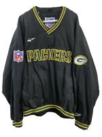 Mens XL Vintage Reebok NFL Pro Line Black Pullover Green Bay Packers Retro 90s
