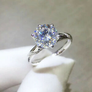 2.44 TCW Round Cut Moissanite 6 Prong Engagement Ring In 14k White Gold Plated