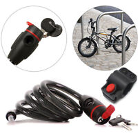 Bicycle Lock  Duty Safety Steel Coil Spiral Security Cable Lock with 2 Keys UK
