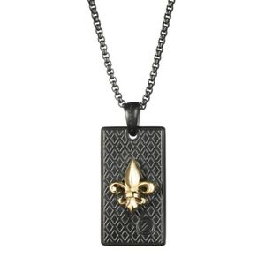 """14K Gold Plated Fluer De Lis Necklace with 34"""" Chain on Black Rhodium"""