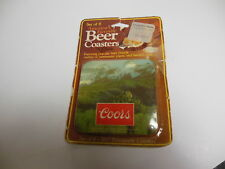 Coors Beer Coasters Rocky Mountain Set Of 6 Vintage Plastic & Cork Conimar