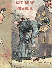 1880s * USE 1887 SOAP POWDER TRADE CARD, BOY TRICKING OLD LADY, FREE SHIP, TC130
