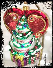 Original Christopher Radko Xmas Tree Heart Handcrafted Glass Ornament wh Cr Logo