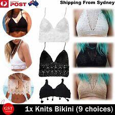 Knits Triangle Bikini Sexy Lace Crochet Shell Bra Pants Beach Swimwear Swimsuit