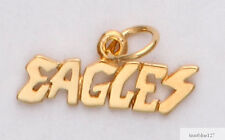 Philadelphia Eagles Team Name Necklace Pendant Charm  24k Gold Plated Eagles