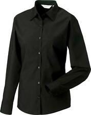 Women's No Pattern Collared Formal Hip Length Tops & Shirts