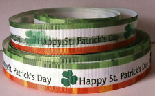 """4 Yards Happy St Patrick's Day 7/8"""" Printed Grosgrain Ribbon FREE SHIPPING!!!"""
