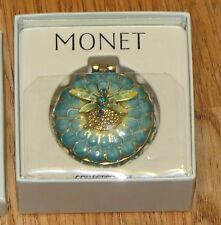 NEW BOX Monet Dragonfly Green Enamel Collectible Trinket Hinged Box RARE NIB