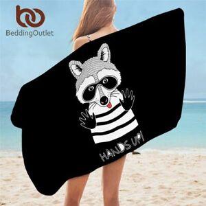 Raccoon Bath Towel Microfiber Beach Towel Doodle Animal Portrait Mat 75x150cm