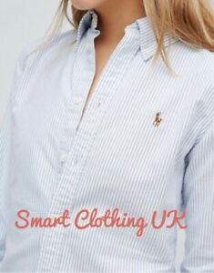 Ralph Lauren Women's Slim Fit Striped Oxford Shirt  (Blue/White)    RRP £109
