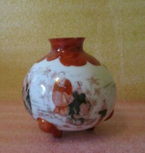 ANTIQUE Vintage Kutani ❤ Hand Painted Transfer Iron Red Footed Pot Belly Vase🎎!