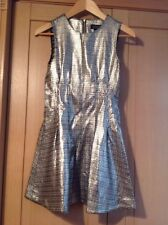 EYE CATCHING TOPSHOP SILVER FITTED DRESS UK SIZE 6 NWOT