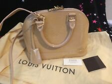 Authentic Louis Vuitton Vernis alma bb patent bag tote purse Satchel beige