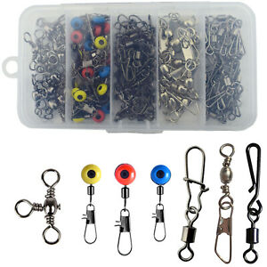 100pcs Ball Bearing Rolling Fishing Swivel Safety Snap Barrel Swivel Kit Tackle