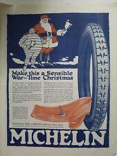 1920 Michelin tire co sensible wartime Christmas Santa Claus and Michelin Man ad