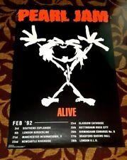 PEARL JAM ORIGINAL FEBRUARY 1992 EUROPEAN TOUR PROMO CONCERT POSTER NICE!
