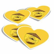 4x Heart Stickers - Hang Gliding Extreme Sports  #7139