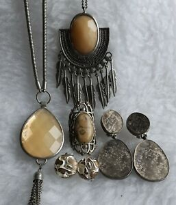 Silver Tone Set With 2 X Necklaces & Earrings Plus Ring