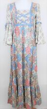 VTG VICKY VAUGHN Long Maxi Dress Peasant Prarie Boho Hippie Corset WOMENS 9 or M