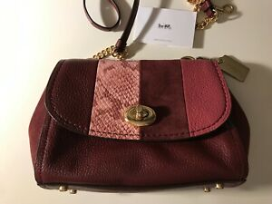 NEW Coach F45314 Exotic Faye Crossbody Leather Handbag WINE MULTI $450