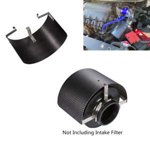 Car Air Intake Cover Heat Shield Carbon Fiber Style Fit 2.5-5.5in Filter