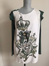 NWT Bluemarine girl Top blouse Euro 44 US 8 silk and elastyne crystals
