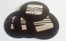 4 x SEAT CENTRE CAP WHEEL LOGO 120MM DOMED HUB BADGE EMBLEM BLACK LEON IBIZA FR