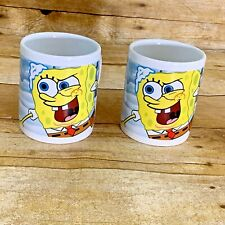 Spongebob & Patrick 2007 Coffee Tea Mugs Cups Set of 2 Viacom 8.oz Porcelain