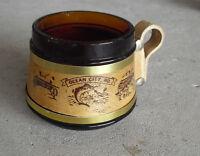 "Vintage 1960s Brown Glass Wood Handle Ocean City MD Souvenir Coffee Mug 3"" Tall"
