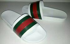Gucci Men's White Rubber Web Slide Sandals Size 7