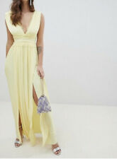 ASOS YELLOW LACE INSERT MAXI DRESS THIGH SLIT LOW BACK FLOATY PROM GOWN UK 8
