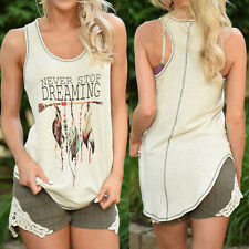 Women Feather Printed Sleeveless Shirts Blouse Casual Tank Vest Tops T-shirt White M