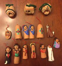 Vintage 16 Piece Christmas Ornament Set Native Jil Gurule Pottery Storyteller
