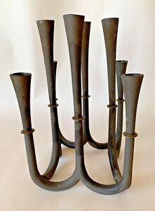 "Vintage Mid-Century Modernist DENMARK Black IRON & BRASS 8 Candle Holder-7"" High"