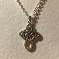 LOVELY CELTIC KNOT FILIGREE CROSS pendant DARK SILVER PLATED with trace chain