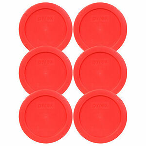 """Pyrex 7200-PC 5"""" Storage Lid Cover 2 Cup Red Round 6 Pack for Glass Bowl New"""