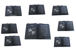 Black Memorial Book Ornament Doves Garden Stone Memorial Plaque Grave