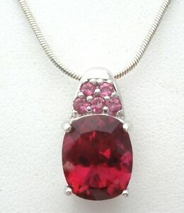 Ruby Red CZ Sterling Silver Pendant for Necklace Cubic Zirconia Signed NK 925