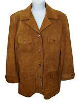 Virginia Slims Vintage '90s Suede Leather Jacket Size XL Brown No Belt